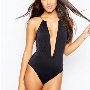 Gold necklace plunge swimsuit